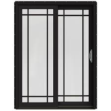 Menards Patio Door Screen by Shop Jeld Wen W 2500 59 25 In Grid Glass Black Wood Sliding Patio