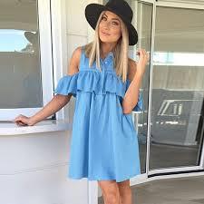 2017 Summer Dress Casual Off Shoulder Ruffle