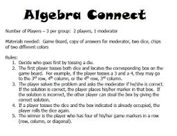 This Is An Example Of A Systems Game Board With The Directions And Answer Key