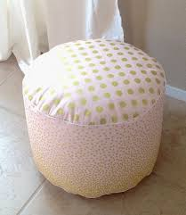 Pink And Gold Pouf Floor Nursery Ottoman Cushion Blush