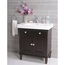 Narrow Bathroom Floor Storage by Small Black Wooden Vanity With Double Door Storage And White Sink