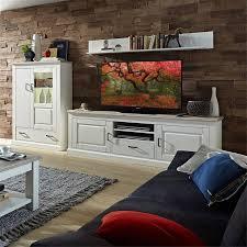 landhaus tv wohnlösung inkl led beleuchtung leer 55 in pinie weiß