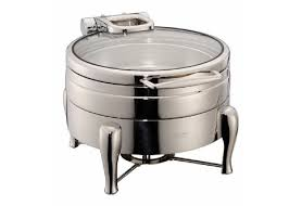 YUFEH Stainless Steel 304 Hydraulic Induction Chafing Dish Buffet Food Warmer Soup Station W Round Glass Lid