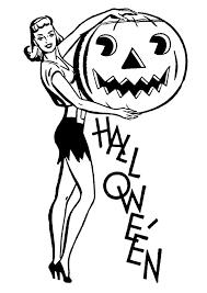 Retro Halloween Clip Art Pretty Lady with Pumpkin