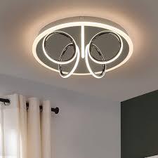 zmh led deckenleuchte modern deckenle wohnzimmer 3000k warmweiß aus eisen und acryl in farbe chrom 41w ø43cm rund bürodeckenleuchte
