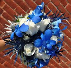 Blue And Silver Wedding Flowers Bold Bouquets Columbus Ohio Ivory Gold