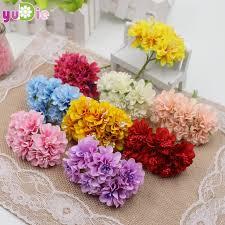 6pcs Lot3cm Silk Stamen Daisy Bouquet Collage Craft Supplies Artificial Flowers Wedding Decorations DIY Party