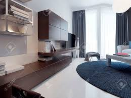 moderne wohnzimmer design matte tv möbel möbel braun weiß gegossen betonböden und poliert runde dunkelblauen teppich 3d übertragen
