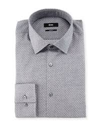 jenno slim fit dot print dress shirt gray boss hugo boss