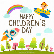 Childrens Day Design With Plane And Rocket
