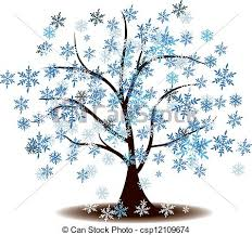 Winter s Tree Covered With Snow Vector