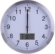 tetake funkuhr 30cm 12 zoll lautlos wanduhr funk geräuschlos thermometer kalender datum wochentag funkwanduhr für küche wohnzimmer büro schlafzimmer