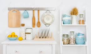 100 Decorated Wall Kitchen Interior With Cabinet And Shelf With Utensils