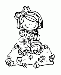 Fall Leaves And Girl Coloring Pages For Kids Autumn Printables
