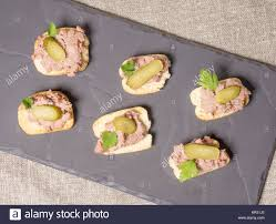 pate canapes canapes with pate stock photo 169141453 alamy