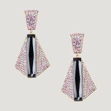 100 Art Deco Shape Crystal Trapezium Drop Earrings Butler Wilson