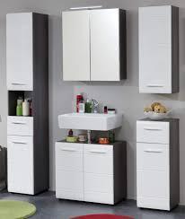 badmöbel set 5 teilig in hochglanz weiß und sardegna grau rauchsilber badezimmer 150 x 182 cm trendteam line 189890503