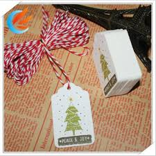 Free Shipping 50pcs Christmas Tree Peace Joy Kraft Paper Tags DIY Card Labeled Wishing Bookmark 10M String In Garment From Home