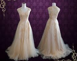 Blush Boho Lace Wedding Dress With Illusion Back