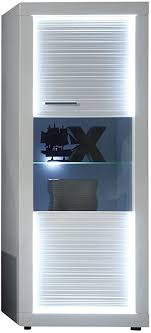 trendteam wohnzimmer vitrine schrank wohnzimmerschrank starlight 60 x 156 x 41 cm in korpus weiß front weiß glanz mit rillenoptik mit led