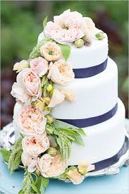 Bluewhite And Pink Floral Wedding Cake