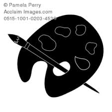 Clip Art Illustration Of A Silhouette Painters Palette And Brush