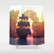 100 Design A Pirate Ship Pirate Ship Off An Island At A Sunset Shower Curtain
