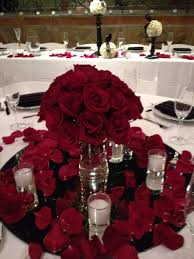 Glamorous Red Rose Centerpiece Low Centerpieces Pinterest And White Ideas On Mirrors Candles Out Petals