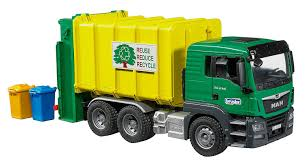 100 Toy Trash Truck Bruder MAN TGS Rear Loading Garbage Green Yellow