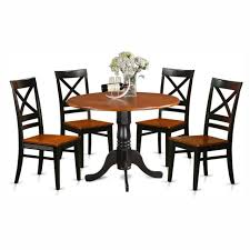 East West Furniture Dublin 5 Piece Drop Leaf Dining Table Set With Quincy