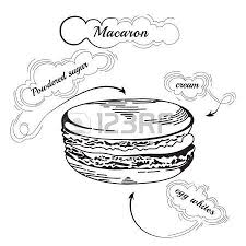 French macaroon cookies isolated on white Vector food icon Macaron an Engraving style