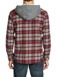 puffer hooded long sleeve flannel shirt eqywt03006 quiksilver