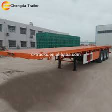 Factory Price 3 Axles 20ft 40ft Flatbed Container Semi Truck Trailer ...