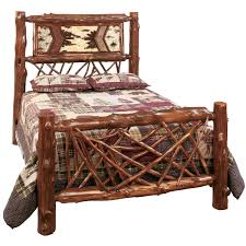 Country Western Style Bedrooms With Rustic Twig Bedroom Furniture Varnished Log Bed Frame
