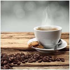 glasbild heiße tasse kaffee mit kaffeebohnen 50 x 50 cm