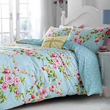 Catherine Lansfield Vintage Floral Duvet Cover Set Single Blue