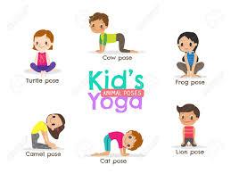 Yoga Kids Poses Cartoon Illustration Stock Vector