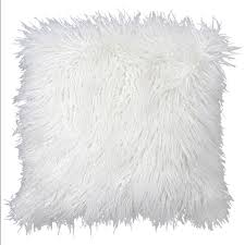 White Mongolian Fur Pillow 18 in At Home