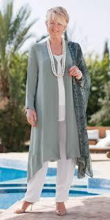 belladonna verdigris chiffon coat white crepe trousers and vest