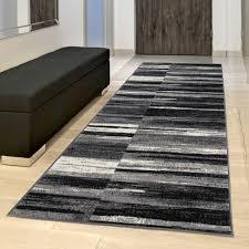 teppich läufer modern grau schwarz creme streifen