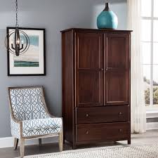 Grain Wood Furniture Shaker 2 Door Solid Cherry Finish Armoire