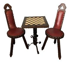 Vintage Spanish Carved Chess Table & Chairs - Set Of 3 ... The Best Of Sg50 Designs From Playful To Posh Home 19th Century Chess Sets 11 For Sale On 1stdibs Amazoncom Marilec Super Soft Blankets Art Deco Style Elegant Pier One Bistro Table And Chairs Stunning Ding 1960s Vintage Chess And Draught In Epping Forest For Ancient Figures Stock Photo Edit Now Dollhouse Mission Chair Set Tables Kitchen Zwd Solid Wood Small Round Table Sale Zenishme 12 Tan Boon Liat Building Fniture Stores To Check Out Latest Finds At Second Charm Bobs