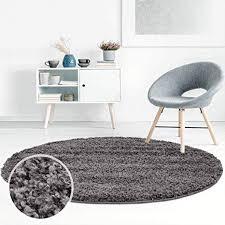 ayshaggy shaggy teppich hochflor langflor einfarbig uni dunkelgrau weich flauschig wohnzimmer größe 200 x 200 cm rund