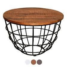 soma couchtisch wohnzimmer tisch rund beistelltisch ø 60 cm metall gestell tischplatte bxhxl 60 x 40 x 60 cm tabacco