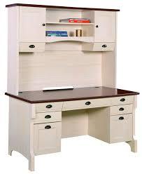 Simple Antique White Desk With Hutch