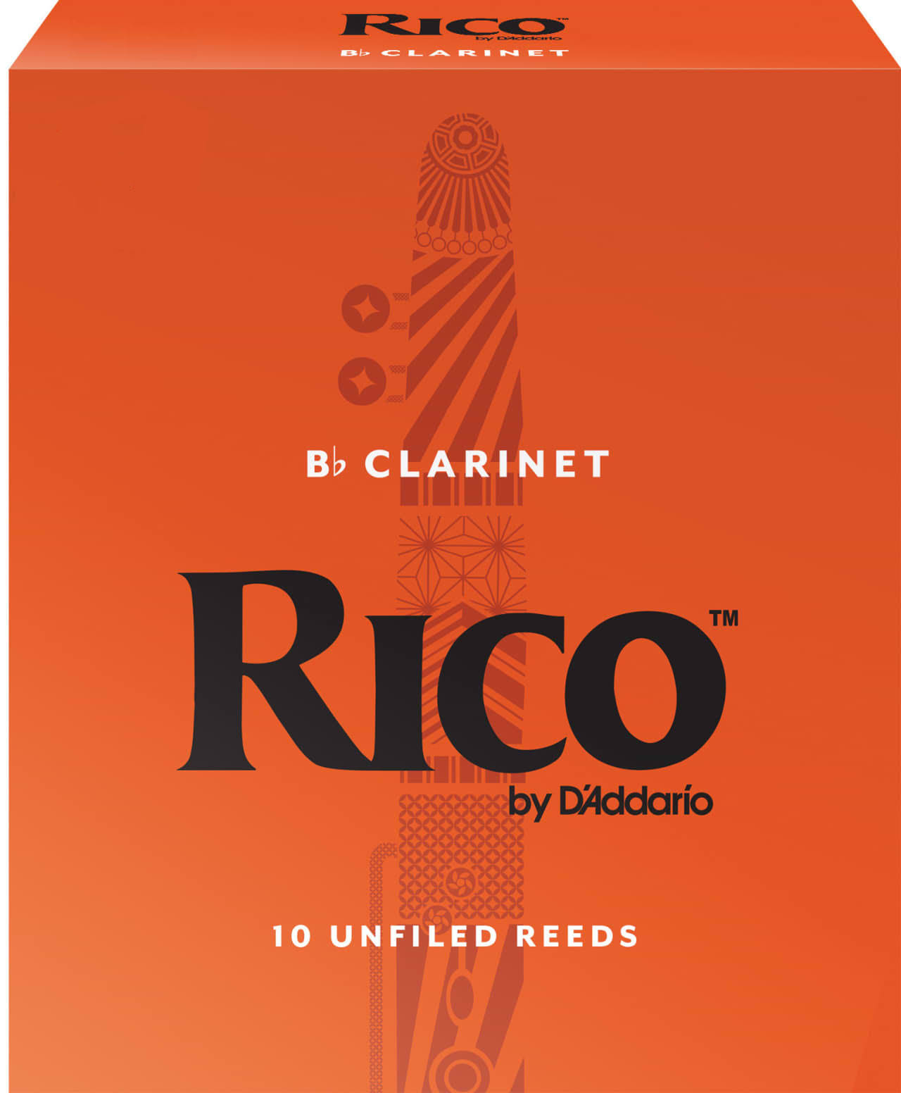 Rico by D'Addario Bb Clarinet Reeds - Strength 2.0, 10 Unfiled Reeds