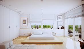 Endearing Modern White Bedroom Decoration Using Floating Oak Wood Sliding Bed Table Including Vinyl Tile Flooring And Large