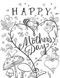 Cute Coloring Page Mothers Day Printable Cards