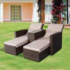 Outsunny Patio Furniture Assembly Instructions by Aosom Outsunny 3 Piece Outdoor Rattan Wicker Chaise Lounge