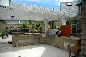Fabulous L Shaped Outdoor Kitchen Design With White Pergola Additional